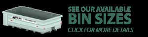 Waste disposal bin rentals service bin sizes